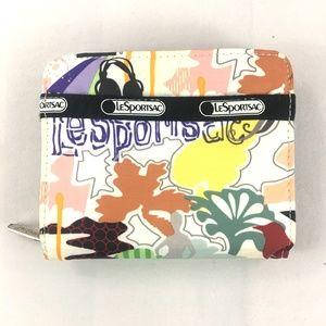 LESPORTSAC Floral Bi-Fold Zip Wallet